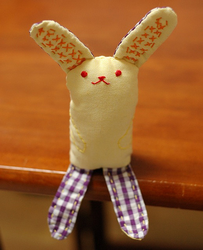 For those of you with sewing chops, might I suggest this sitting bunny plush from Mairuru
