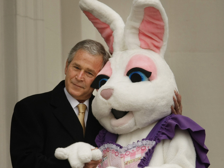 President Bush gives the Easter Bunny a warm hug
