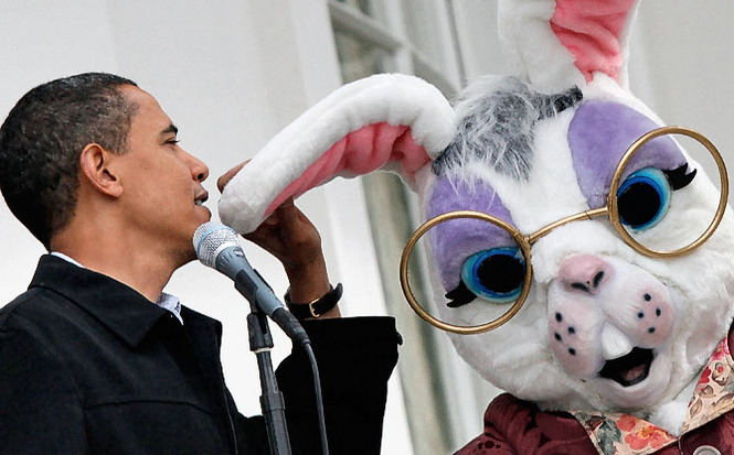 Obama whispers state secrets into the Easter Bunny's attentive ear