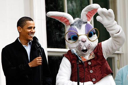 The President and the Easter Bunny share a laugh