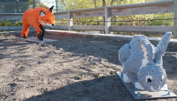 Lego Fox Rabbit Sculpture