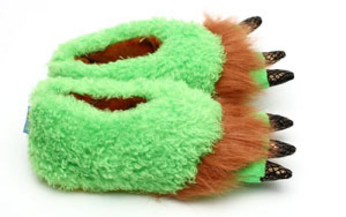 Toddler's Green Monster Feet Slippers 2