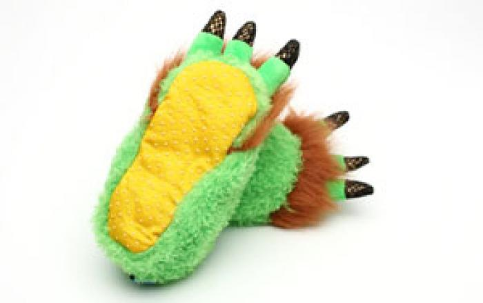 Toddler's Green Monster Feet Slippers 3