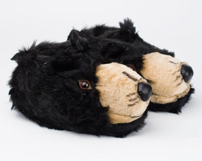 Black Bear Head Slippers 1