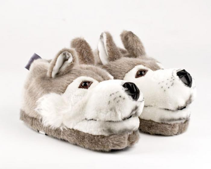 Gray Wolf Animal Slippers 1