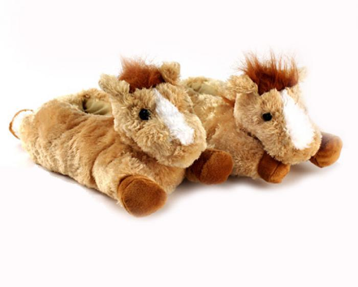 Fuzzy Horse Slippers 1
