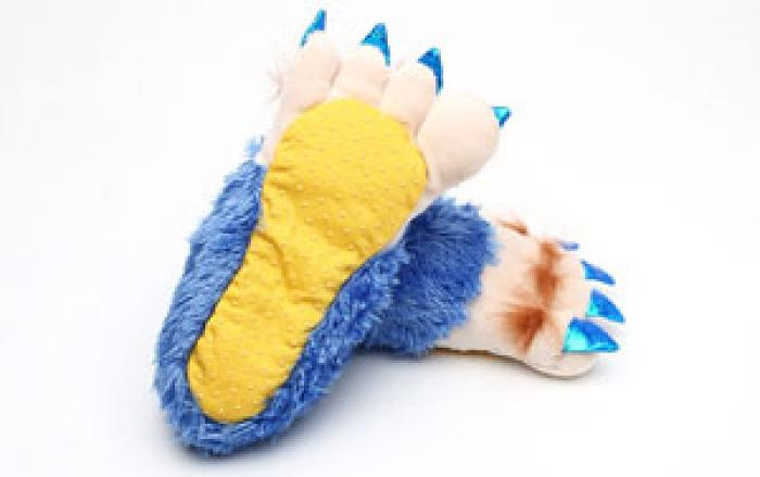 Toddler's Blue Creature Feet Slippers 3