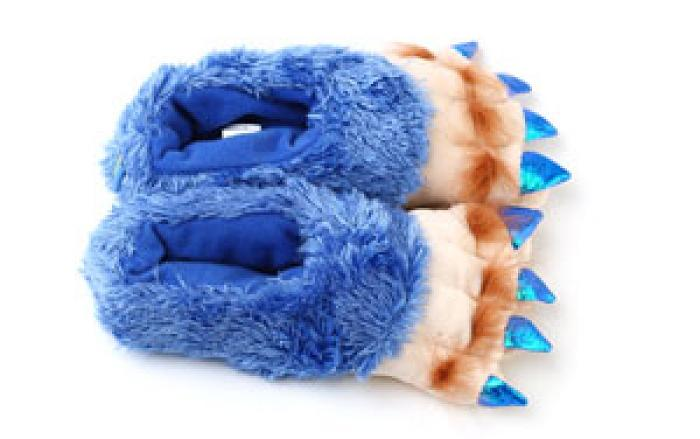 Toddler's Blue Creature Feet Slippers 4