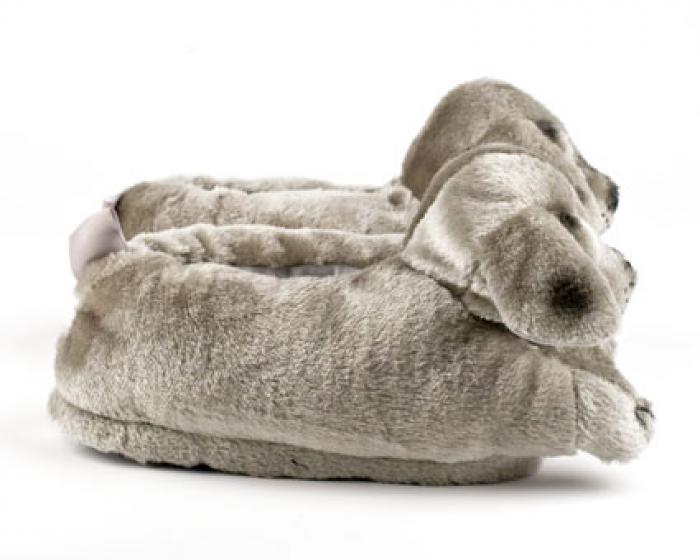 Gray Puppy Animal Slippers 2