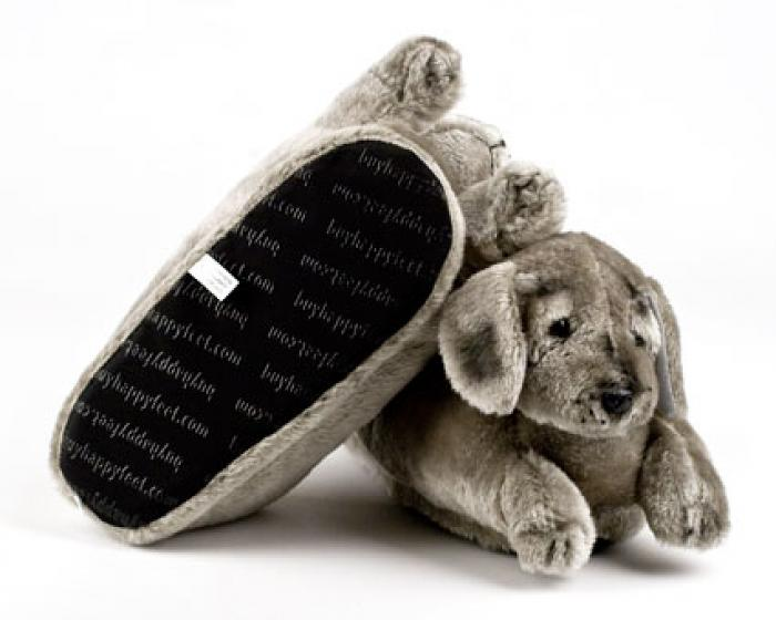 Gray Puppy Animal Slippers 3