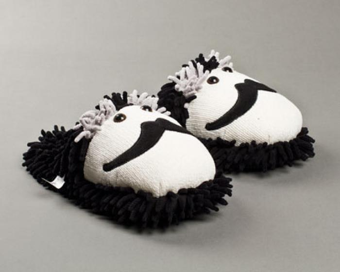 Fuzzy Moustache Slippers 1