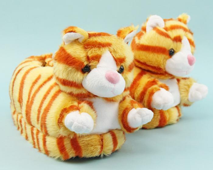 Orange Tabby Cat Slippers 1