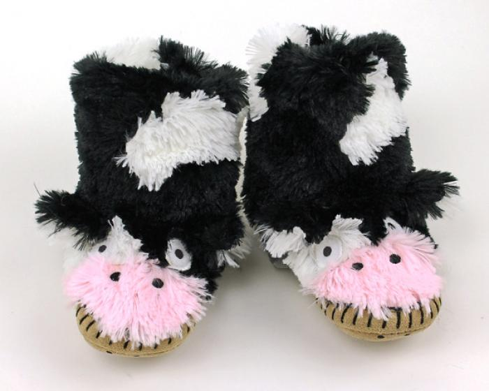 Children's Cow Slouch Slippers 1