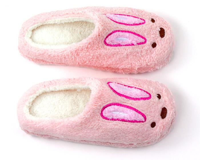 Fuzzy Pink Bunny Slippers 4