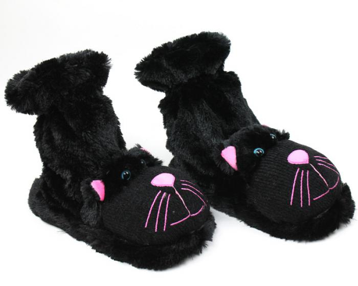 Fuzzy Black Cat Sock Slippers 1