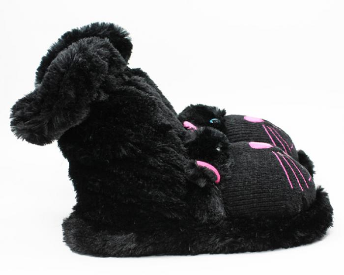 Fuzzy Black Cat Sock Slippers 2
