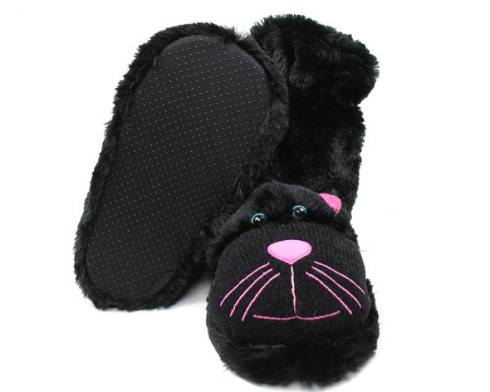Fuzzy Black Cat Sock Slippers 3