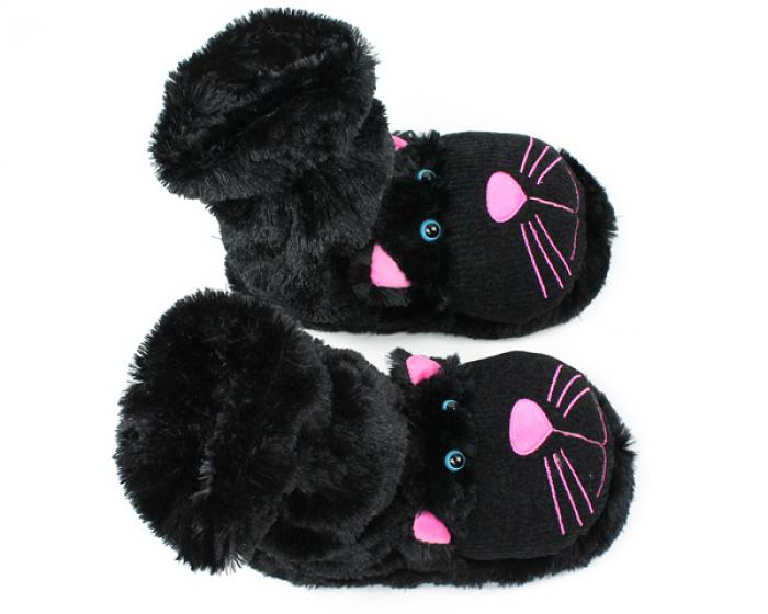 Fuzzy Black Cat Sock Slippers 4