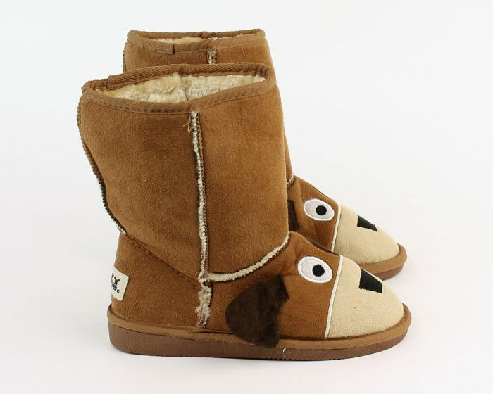 Kids Toasty Toez Dog Slippers Side View