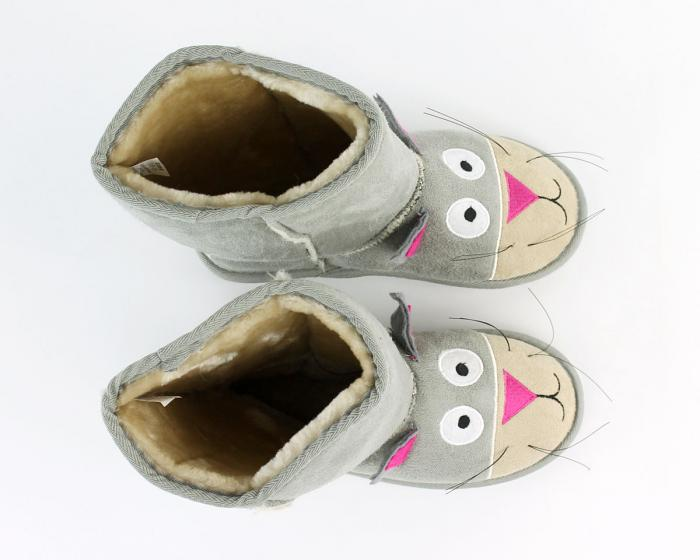 Kids Toasty Toez Cat Slippers Top View