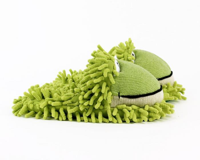 Kids Fuzzy Frog Slippers Side View