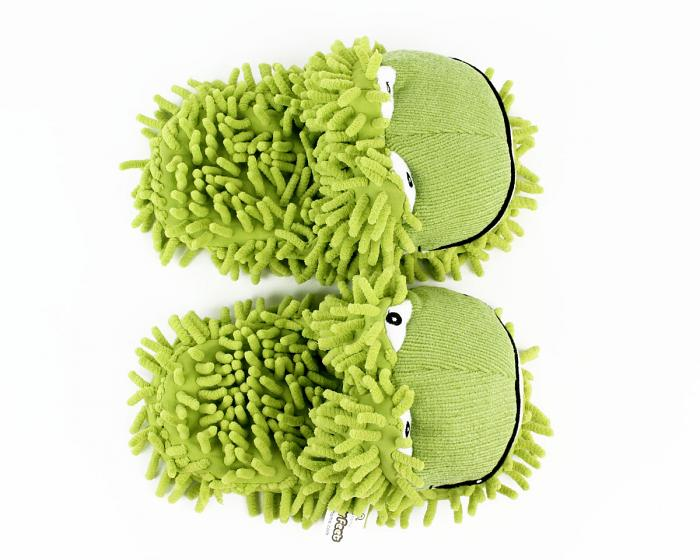 Kids Fuzzy Frog Slippers Top View