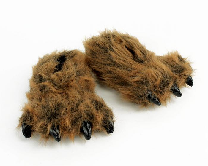 Kids Grizzly Bear Paw Slippers View 1