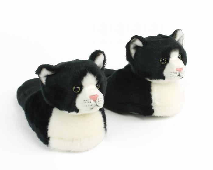 Kids Black and White Kitty Slippers View 1