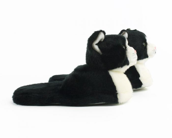 Kids Black and White Kitty Slippers View 2