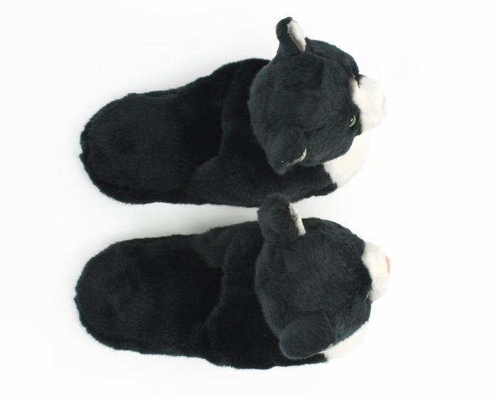 Kids Black and White Kitty Slippers View 3