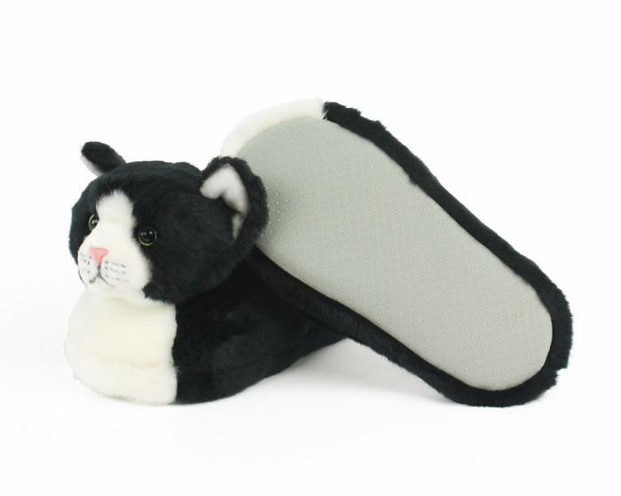 Kids Black and White Kitty Slippers View 4