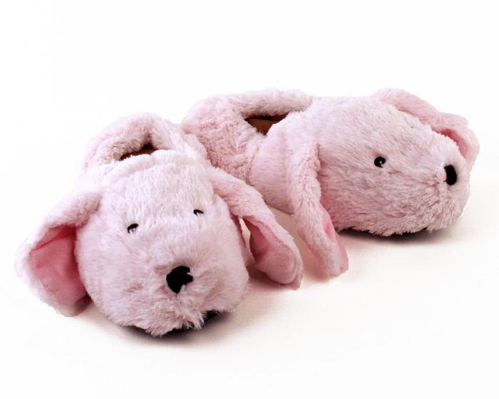 Cozy Pink Bunny Slippers 3/4 View