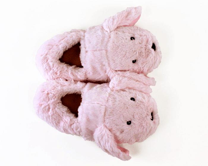 Cozy Pink Bunny Slippers Top View
