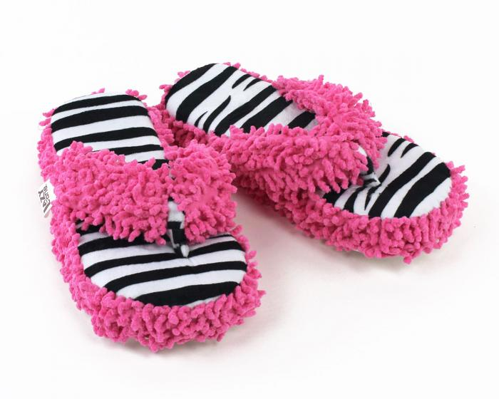 Zebra Stripe Spa Slippers 3/4 View