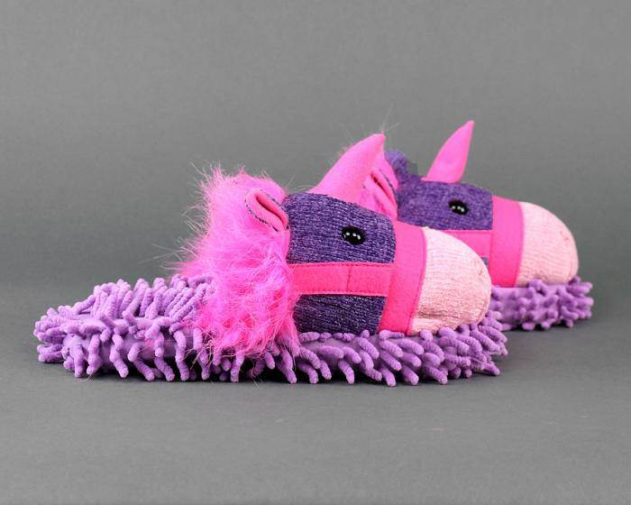 Fuzzy Unicorn Slippers Side View
