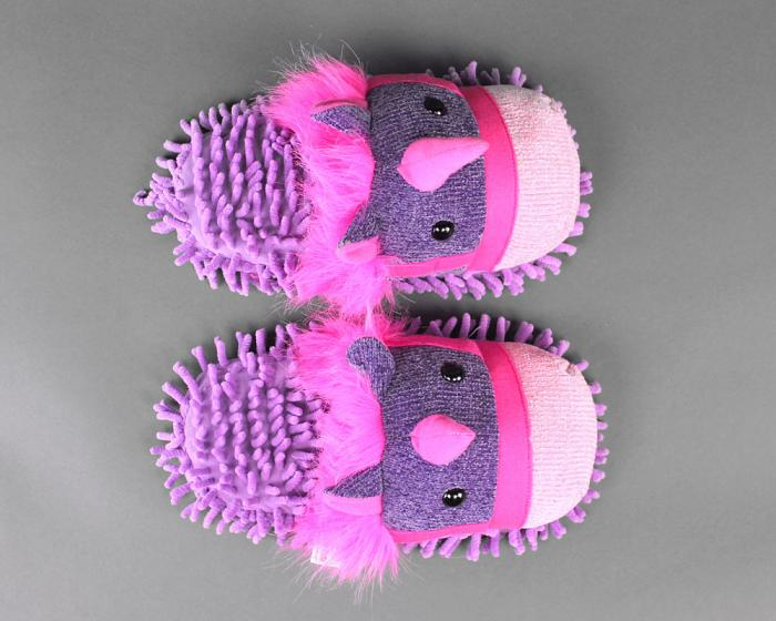 Fuzzy Unicorn Slippers Top View