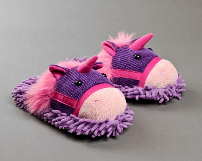 Fuzzy Unicorn Slippers 3/4 View