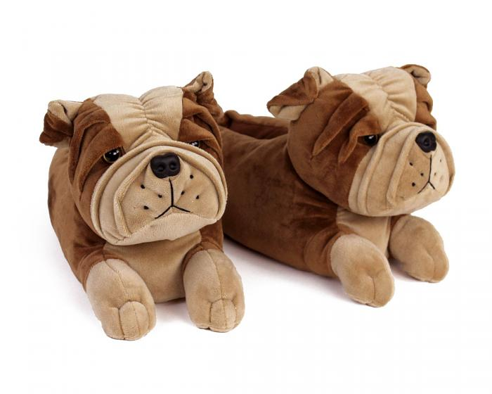 Bulldog Slippers 3/4 View