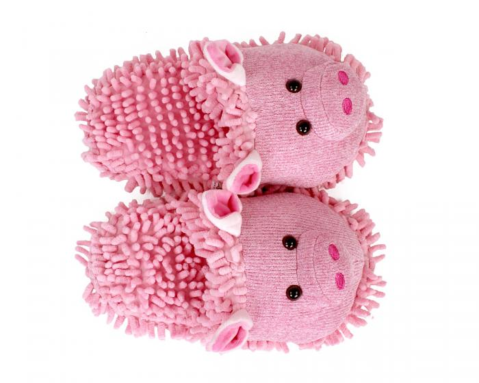 Fuzzy Pig Slippers Top View
