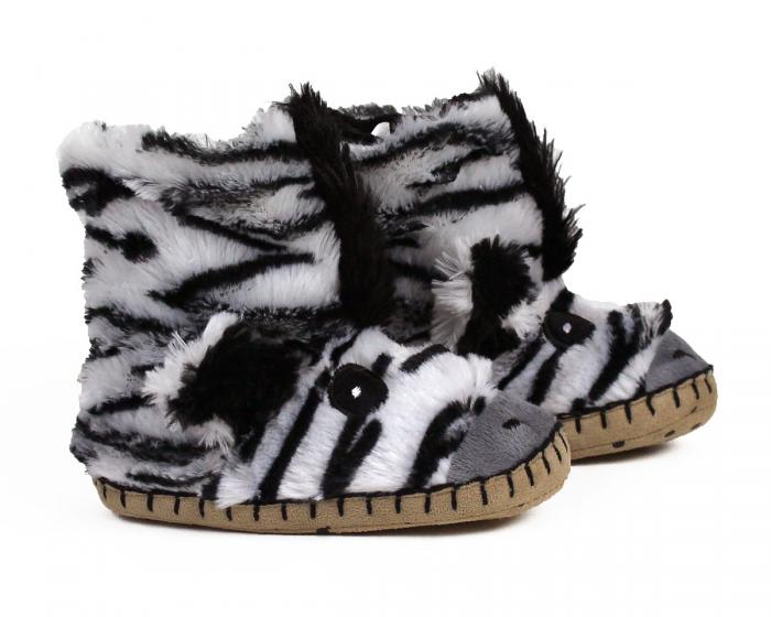 Kids Zebra Slouch Slippers View 2