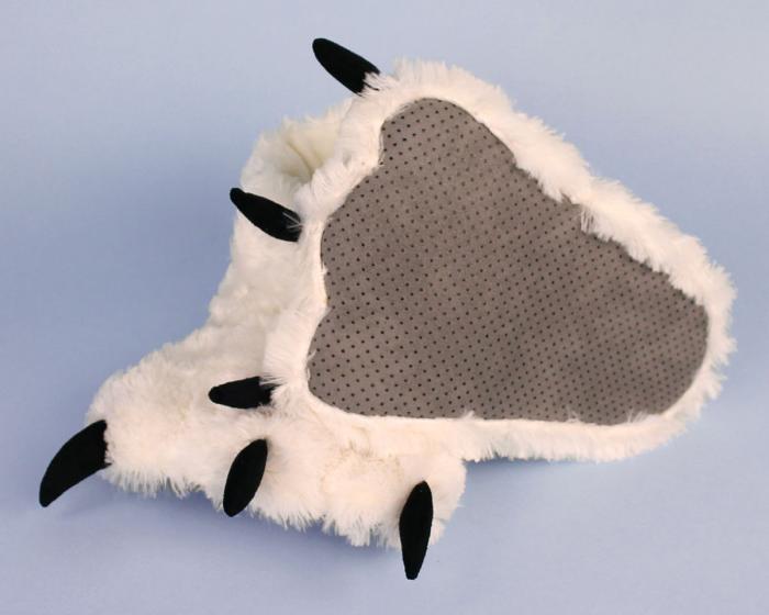 Polar Bear Paw Slippers Bottom View