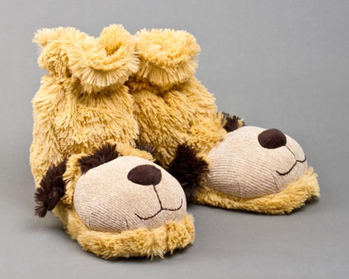 Fuzzy Dog Sock Slippers 1