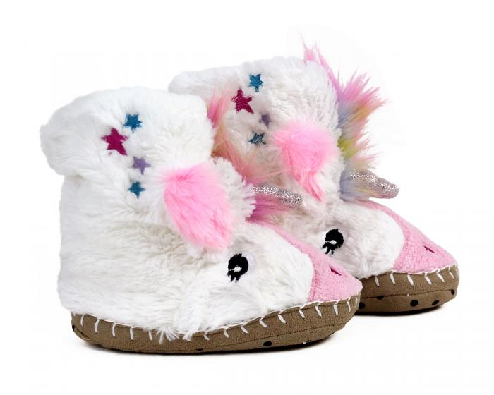Kids Unicorn Slouch Slippers Side View