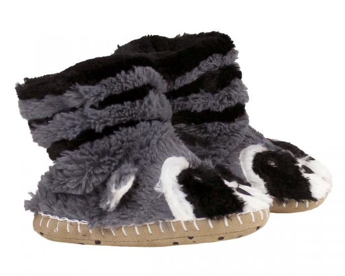 Kids Raccoon Slouch Slippers Side View