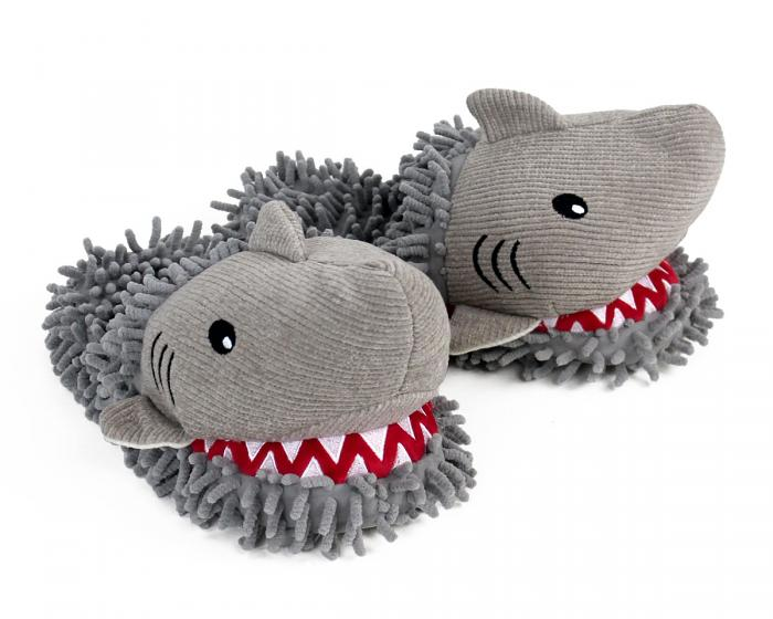 Fuzzy Shark Slippers 3/4 View