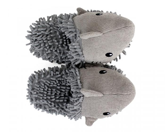 Fuzzy Shark Slippers Top View