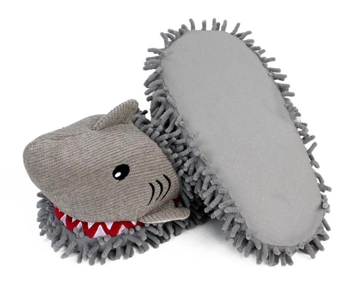 Fuzzy Shark Slippers Bottom View