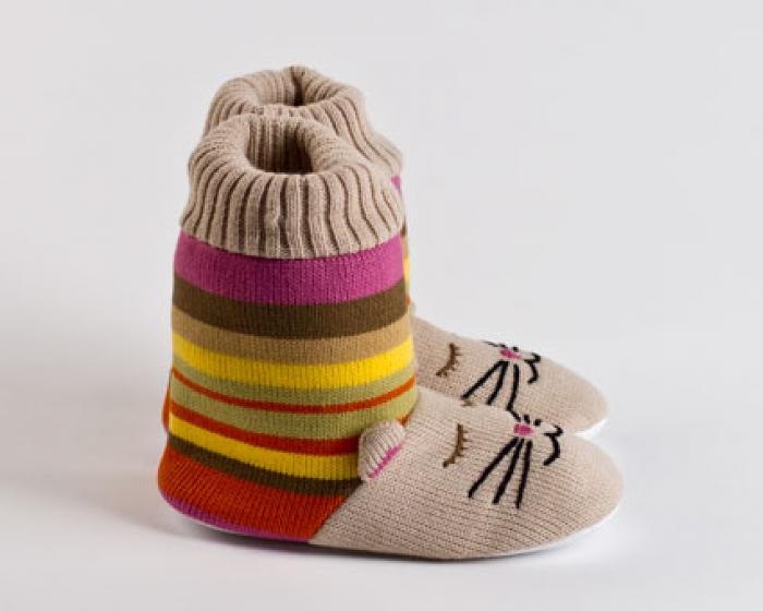 Knitted Sock Cat Slippers 2