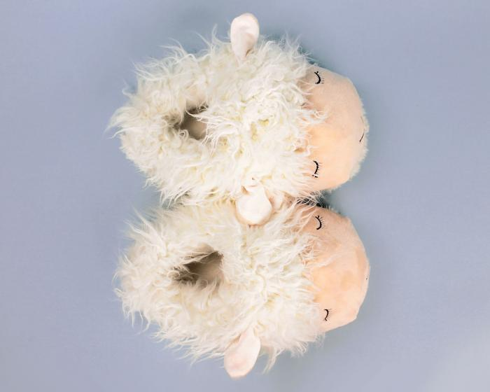 Fuzzy Lamb Slippers Top View