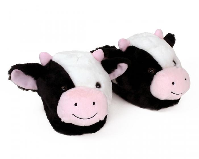 Fuzzy Cow Slippers View 1